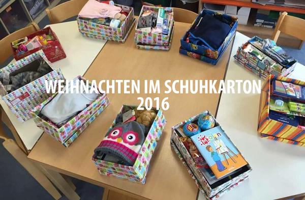 Weihnachtsgeschenke im Schuhkarton verpacken - Zahnzentrum Mitte 2016